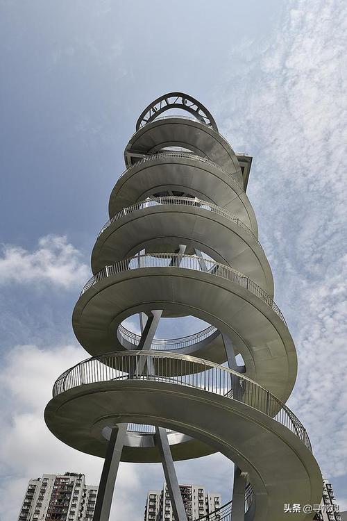 远远便看见这个形状奇特的建筑,没有电梯,一层层旋转而上,形似