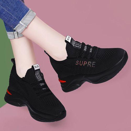 黑色运动鞋女厚底内增高秋季新款鞋子女百搭防滑透气休闲鞋旅游鞋