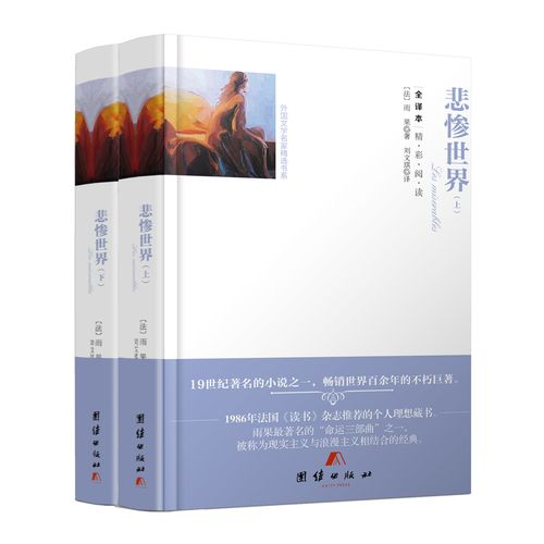 无删减中文版 悲惨世界上下2册  雨果原著全译本正版