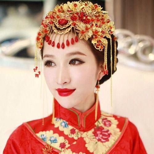 中式古装新娘凤冠头饰秀禾和服民族风结婚新娘秀流苏