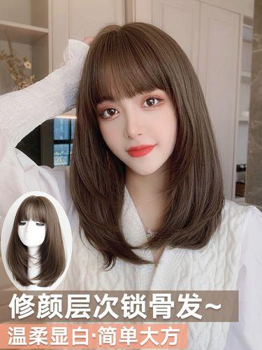 女生中长发 直发发型图片
