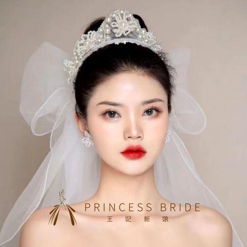 韩式新娘手工仙美皇冠珍珠花环浪漫白纱造型婚纱头饰