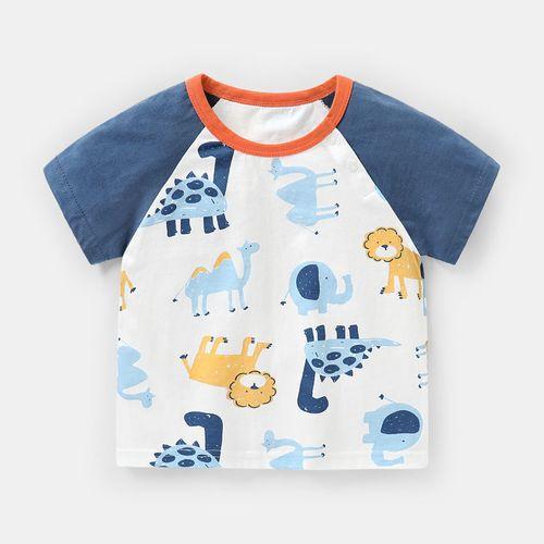 咔咔熊猫婴儿衣服男童短袖t恤夏装儿童3宝宝幼儿女小童1岁半袖 满印