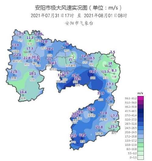 安阳雨情速递丨昨夜今晨全市平均降水量127毫米最大风速12级