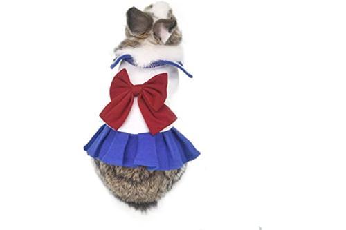 qbleev 可爱兔子连衣裙,创意小动物学校制服,带蝴蝶结
