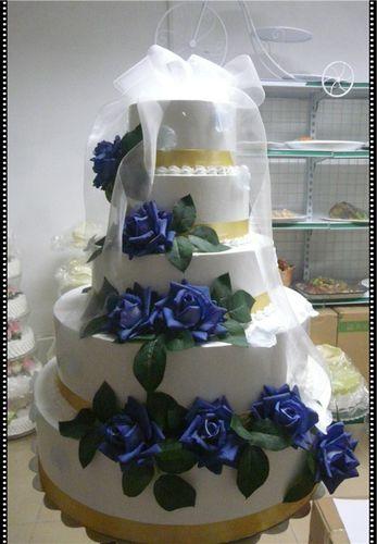 仿真婚庆蛋糕模型食品模型五层蓝色妖姬玫瑰插花蛋糕
