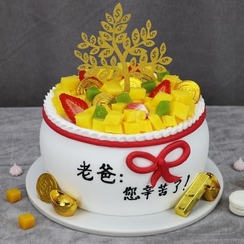 钱袋子爸爸辛苦了蛋糕模型2021新款网红摇钱树仿真生日假蛋糕样品