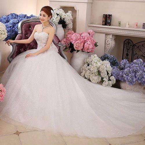韩式婚纱新娘婚纱裙中学生网红拖尾星空超仙梦幻森系