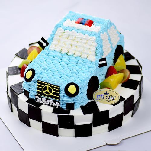 【卡通汽车双层】10+8英寸  时尚造型  奶油水果蛋糕